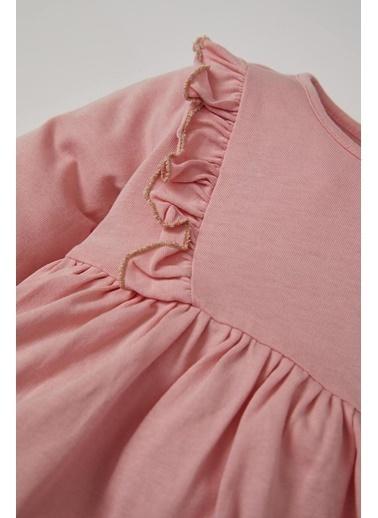 DeFacto Kız Bebek Fırfır Detaylı Elbise Pembe